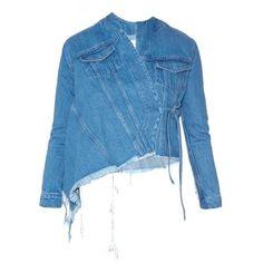 Marques'Almeida Asymmetric wrap-front denim jacket ($510) ❤ liked on Polyvore featuring outerwear, jackets, mid indigo, brocade jacket, denim jacket, floral jacket, floral jean jacket and asymmetrical denim jacket