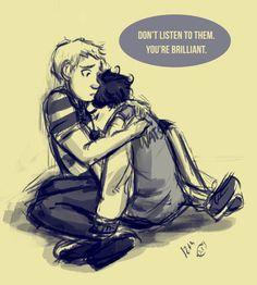 Sad-Teen!Sherlock and Protective-Teen!John by thetwelfthpanda.