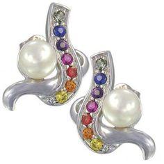 Rainbow Sapphire & Pearl Classic Earrings 14K White Gold $446 #earrings #jewelry #pearls