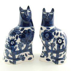 "Blue - cats - ""Beautiful Blues"" - ceramic - Vicky Lindo"