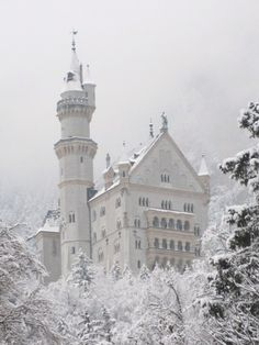 Snow Queen Castle. Neuchwanstein castle, Germany.   The castle was designed for a queen. The decor is intricate and mostly pink, and there's an enchanting feel of magic inside.