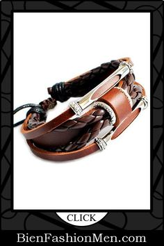 Mens Leather Cuffs | Mens Bracelets | Mens Jewelry | Mens Accessories | Bracelets on Men | Mens Jewelery | Shop Now ♦ Adjustable Cool Bracelet Cuff Made of Leather $19.99