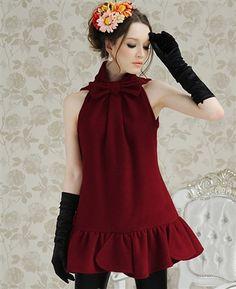 Elegant Wine-Red A Style Woollen One Piece Dress
