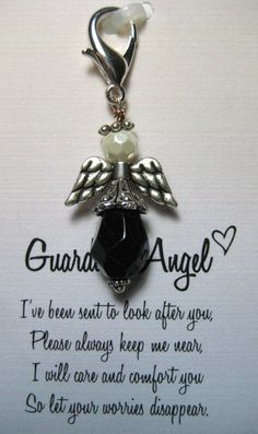 Black and White Guardian Angel Key Chain by mycreativeclutter
