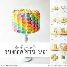 Rainbow cake - it's hard to see the little pictures on the side, but it's cool how she did the top. Dot of frosting, then the sweep toward the middle. I think I like that better than a spiral on the top.