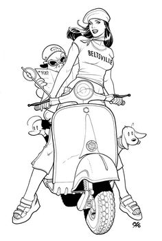 """Brandy and Co. from Frank Cho's """"Liberty Meadows"""" on a Vespa.."""