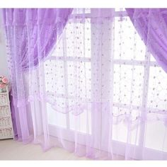 Purple Sheer Curtain For S Room Without Valance