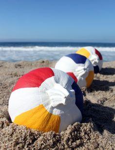 Fabulous DIY Beach Ball Pumpkins. Featured here: http://beachblissliving.com/beach-pumpkins-fall/