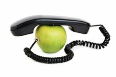 Apple with handset and wire. Green apple with handset and connected wire , Hotels, Landline Phone, Manager, Apple, Image, Color, Green, Top, Things To Do