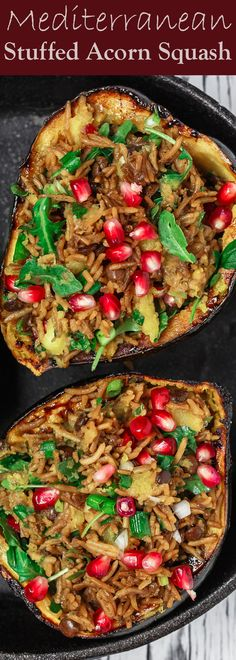 Mediterranean Style Stuffed Acorn Squash Recipe | The Mediterranean Dish.Simple all-start stuffed acorn squash recipe! Prepared Mediterranean-style with an easy rice and lentil pilaf mixture with fresh herbs and pomegranate seeds. A major shortcut makes all the difference! See the recipe on TheMediterraneanDish.com #acornsquash #mediterraneanrecipe #roastedsquash #squashrecipe #thanksigivingdinner