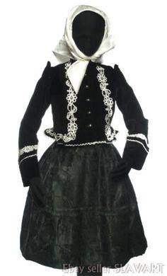 VINTAGE Traditional Slovak Folk Costume black velvet skirt jacket brocade apron Folk Costume, Costumes, Velvet Skirt, Ethnic Fashion, Black Velvet, Apron, Street Style, Traditional, Skirts