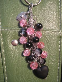 Pink and Black Crackle Glass Bead Purse Charm / Key Chain by FoxyFundanglesByCori, $10.00