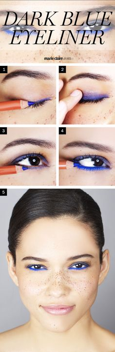 Make your brown eyes pop with cobalt liner. #makeup #beauty