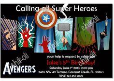 The Avengers Birthday Party Invitations & thank you by Chikoli, $8.00