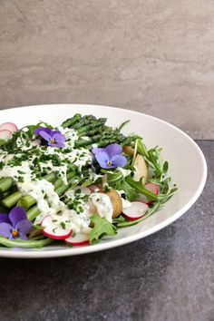 New Potato Asparagus Salad With Coconut Yoghurt And Chive Dressing