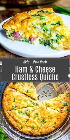 This easy Low Carb Ham and Cheese Crustless Quiche recipe is a low carb breakfast recipe filled with ham, cheddar cheese, and broccoli, for an amazing keto breakfast. Crustless quiche is easy to make Ham And Cheese Quiche, Keto Quiche, Cheddar Cheese, Low Carb Quiche, Gluten Free Quiche Recipes Crustless, Crust Less Quiche, Crustless Broccoli Quiche, Crustless Quiche Lorraine, Vegan Cheese
