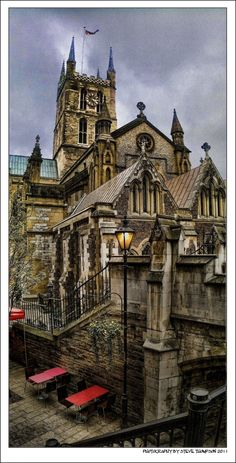 Southwark Cathedral, London, by Steve Thompson. (or The Cathedral and Collegiate Church of St Saviour and St Mary Overie) lies on the south bank of the River Thames close to London Bridge, it is the mother church of the Anglican Diocese of Southwark, and it has been a place of Christian worship for over 1,000 years. Built in 1106