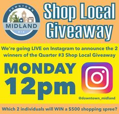 Did you know that our Shop Local Giveaway Q #3 participants spent over $400,000 in total at the participating businesses Downtown Midland?!  Tune in to our LIVE Instagram feed on Monday, October 23rd at 12pm to see which 2 individuals will WIN a $500 shopping spree Downtown Midland!  Add us on Instagram here: www.instagram.com/downtown_midland  #DMShopLocalGiveaway #DowntownMidlandON