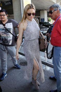 Kate Hudson wearing Westward Leaning Vanguard 6 Sunglasses, Versace Palazzo Empire Bag, Zimmermann Master Picnic Dress and Zimmermann Tab Weekend Boots