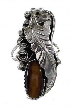 Sterling Silver Leaf Tiger Eye Native American Ring www.silvertribe.com