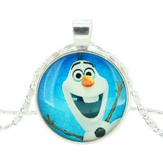 Girls Disney Frozen Characters Olaf Glass Dome Pendant Necklace Now On Sale