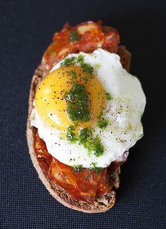 Spanish Chorizo, Egg, and Chive Oil Tartines #LardonMyFrench