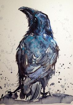 ARTFINDER: Crow by Kovács Anna Brigitta - Original watercolour painting on high quality watercolour paper. I love landscapes, still life, nature and wildlife, lights and shadows, colorful sight. The Crow, Crow Or Raven, Crow Art, Raven Art, Blue Raven, Fantasy Kunst, Watercolor Bird, Watercolour Painting, Watercolours