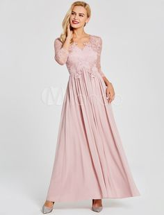 dd24d768b1d Prom Dresses Long Soft Pink Chiffon Formal Gowns Long Sleeve Applique  Illusion Party Dresses  Soft