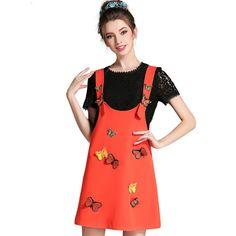 L- 5XL Plus Size 2 Piece Set Women 2017 Summer New Style Lace Top And Bib Dress Suit 3D Butterfly Appliques Orange
