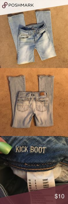 AE kick boot jeans AE kick boot jeans super stretch size 0 short. No stains or rips. (No trades or returns) American Eagle Outfitters Jeans Boot Cut