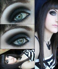 black, white, makeup, eyes, goth, punk, style, dark, sexy, fashion