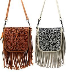 fr@ loves this pin🌟Tante S!fr@ loves this pin Montana West Handbag Genuine Leather Tooled Fringe Crossbody Bag Pick Color Tooled Leather Purse, Leather Tooling, Leather Purses, Prada Handbags, Handbags On Sale, Cheap Purses, Purses And Bags, Montana, Popular Purses