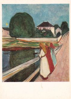 """E. Munch """"The White Night"""" Print, Postcard -- 1984. Fine Arts Publ., Moscow"""