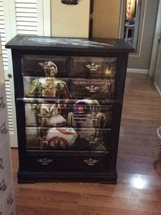 My one of a kind (once;  old,  broken down, light wood) dresser..TO A STAR WARS DRESSER!