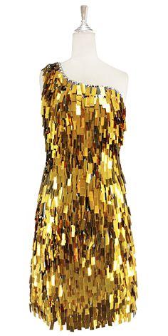3836d7d0e083 Short handmade sequin dress, in rectangular metallic gold paillette sequins  with silver faceted beads,