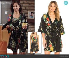 Lily's black floral robe and chemise on The Young and the Restless.  Outfit Details: https://wornontv.net/93173/ #TheYoungandtheRestless