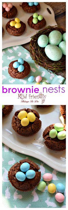 Easy to make Brownie Bird Nest for a spring or Easter kid friendly treat - great dessert for Easter http://www.kidfriendlyhthingstodo.com