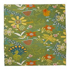 Crewel Rug Arcadian Garden Multi Chain Stitched Wool Rug:- Fabric Type: Cotton Base Wool Embroidery Fabric Detail: Crewel Chainstitch Embroidery with Wool on Cotton Canvas Pattern: Arcadian Garden Pattern Detail: Jacobean Floral Color: Multi Wool; cotton backing Dry clean Imported Visit us @ www.crewelfabricworld.com or call us at 404-966-7806