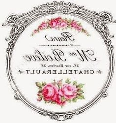 Madame Boileve rosas etiqueta postal redonda transfer.