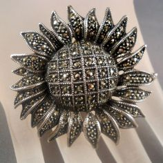 Vintage Judith Jack Sunflower Brooch Sterling Marcasites from Suzy's Timeless Treasures