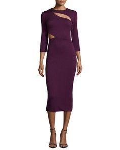 TB2K3 Elizabeth and James Virginia 3/4-Sleeve Cutout Dress, Plum