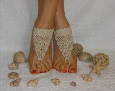 Crochet Brown Barefoot Sandals Nude shoes Foot jewelry Lace