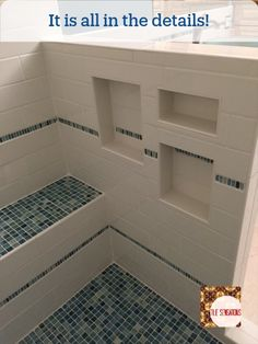 Cubbies for all your showering needs.  How many do you need?  Need help designing your shower details?  Just call 865.329.3290 or email info@tilesensations.net