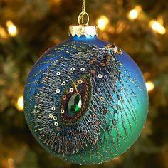 Ombre Peacock Glass Ornament
