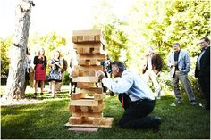 Giant jenga for cocktail hour/wedding entertainment. This looks so fun! Wedding Events, Wedding Reception, Our Wedding, Dream Wedding, Weddings, Wedding 2015, Jenga Wedding, Wedding Signs, Summer Wedding