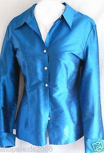 Striking Teal Blue Long Sleeve Button Up Shirt Blouse 100% SHATUNG SILK SZ 18