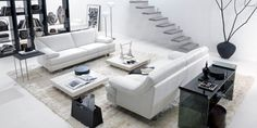 White Living Room Furniture Design Ideas Modern Living Room Black and White Decorating Small Space Room Furniture Design, Living Room Interior, Interior Design Living Room, Living Room Designs, Modern Furniture, Furniture Sets, Sofa Furniture, Furniture Stores, Interior Paint