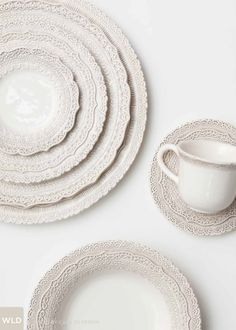 Look at that detail, white lace dinnerware Dinner Plate Sets, Dinner Table, White Dinner Plates, White Plates, Farmhouse Dinner Plates, Dinner Wear, Boho Home, White Dishes, Dinnerware Sets