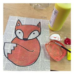 Baby Fox Drawing · Art Projects for Kids - Easy art projects for kids. This fox painting looks like students recycled newspaper for the backgr - Animal Art Projects, Fall Art Projects, Recycled Art Projects, Projects For Kids, Simple Art Projects, Art Club Projects, Fox Painting, Painting For Kids, Kids Painting Projects