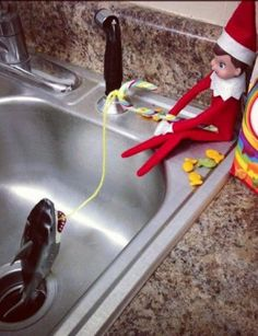 Have you heard of the Elf On The Shelf Christmas tradition? If you're not already frantically trying to hide your Elf in a million different places every day, you soon will be but it's OK we have lots of ideas to help - some naughty some nice! Christmas Elf, All Things Christmas, Christmas Ideas, Christmas Carol, Christmas Decor, Elf Auf Dem Regal, Awesome Elf On The Shelf Ideas, Elf Magic, Elf On The Self